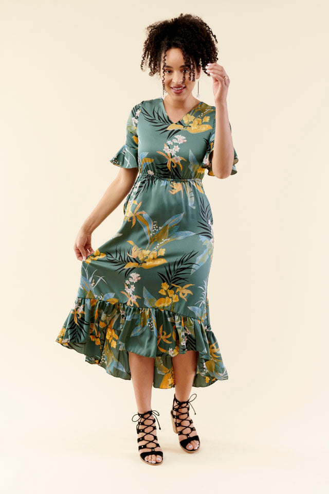 Sea Side Floral High Low Dress