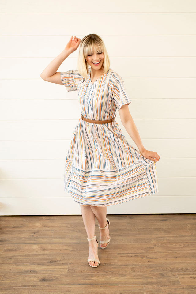 See You There Striped Midi Dress