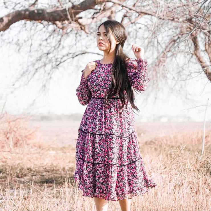 Glowing Floral Tiered Dress