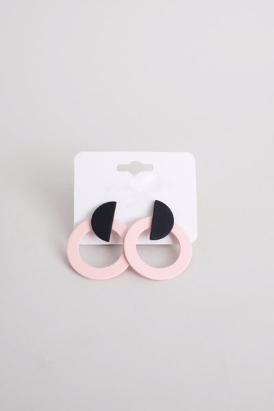 Geometric Pink Rounds Earrings