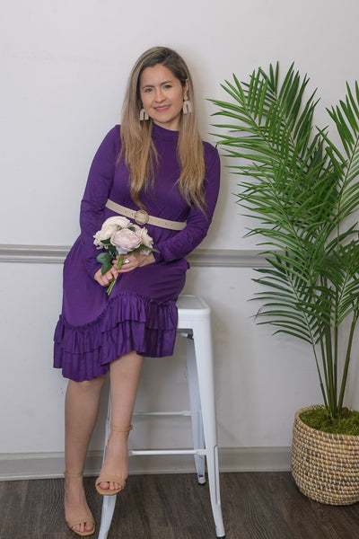 Sonia Purple Midi Dress-FREE BELT
