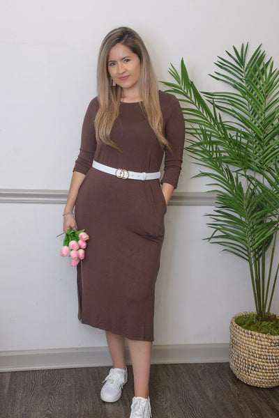 Deanna Brown Midi Dress-FREE BELT