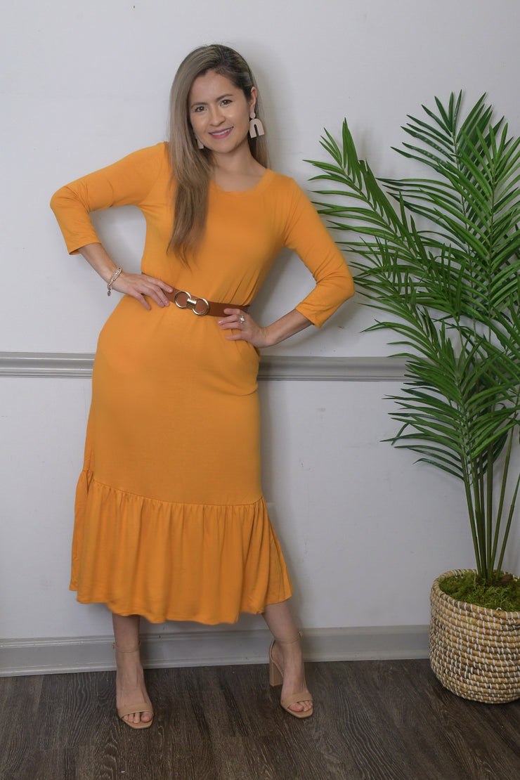 Madeline Midi Dress in Yellow-FREE BELT