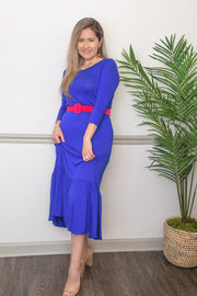 Madeline Midi Dress in Royal Blue-FREE BELT