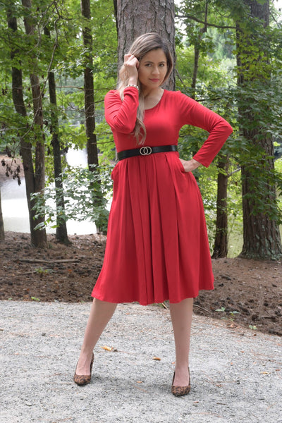 Song Of Love Red Midi Dress