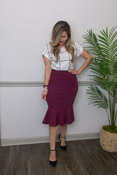 Simply Beautiful Mermaid Skirt-in Burgundy