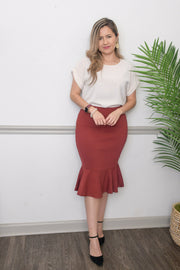 Simply Beautiful Mermaid Skirt-in Brick