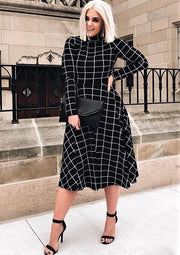 Michelle Plaid Long Sleeve Midi Dress