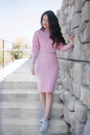 Pink Knitted Off Shoulder Skirt Set