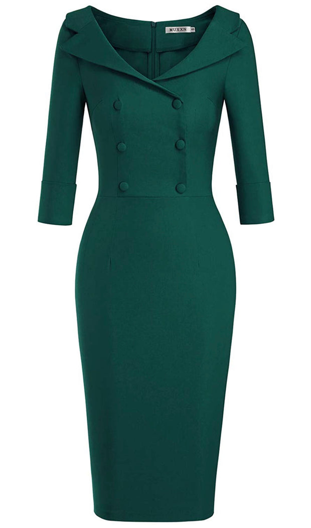 Serenity Double Breasted Pencil Midi Dress