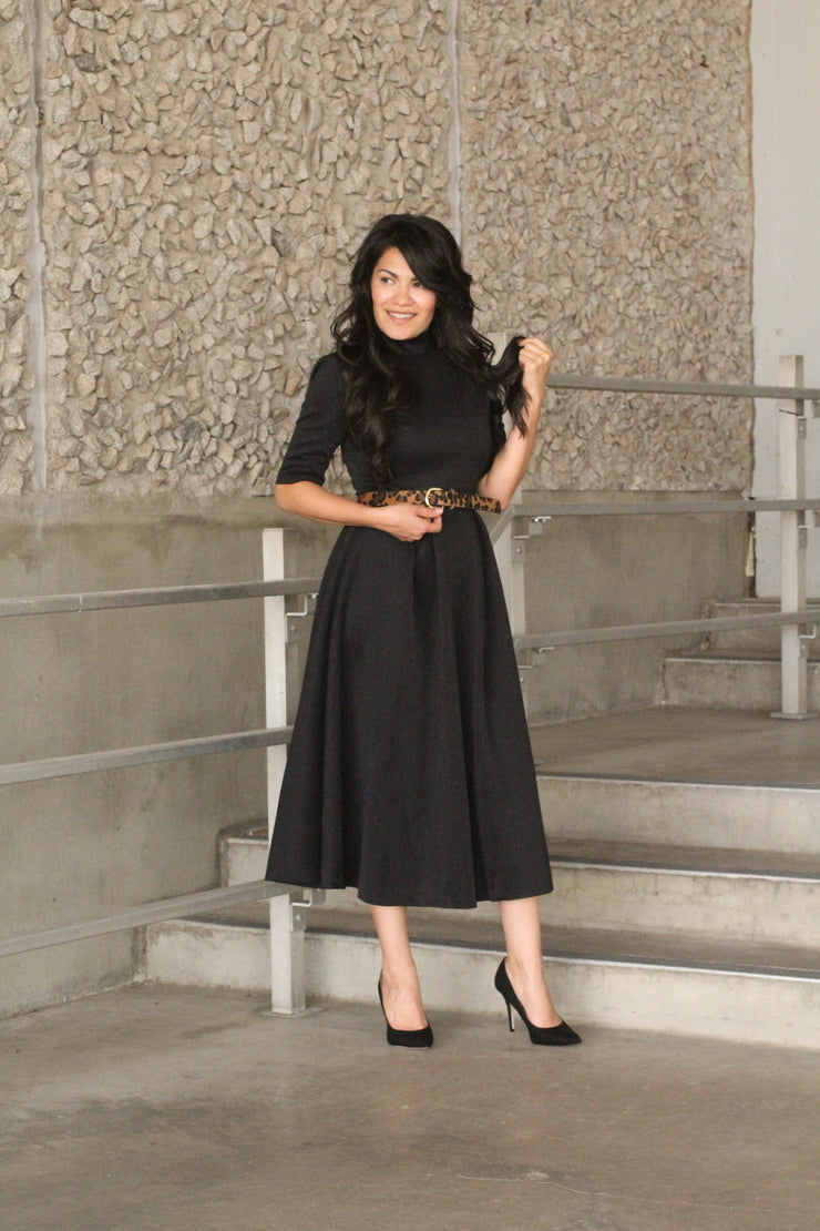 Shine Bright Midi Black Dress