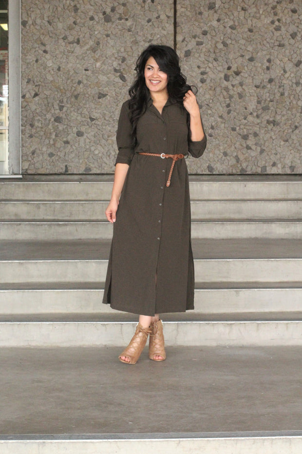 Not Your Typical Shirt Belted Dress