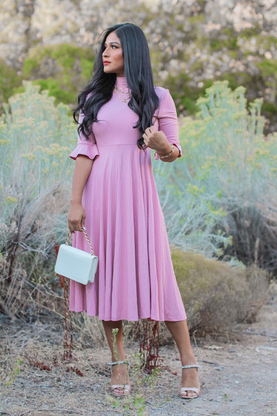 Beyond Pink Knit Midi Dress