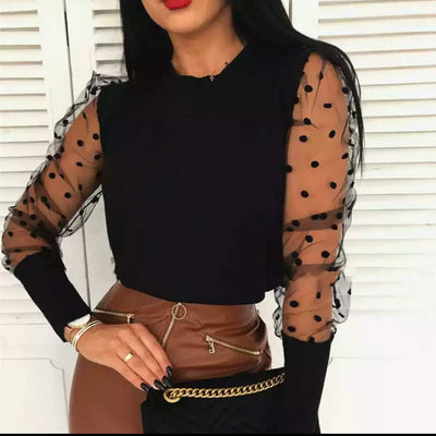 Lovable Mesh Sleeves Ribbed Top