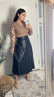 Irresistible Black Leather Skirt