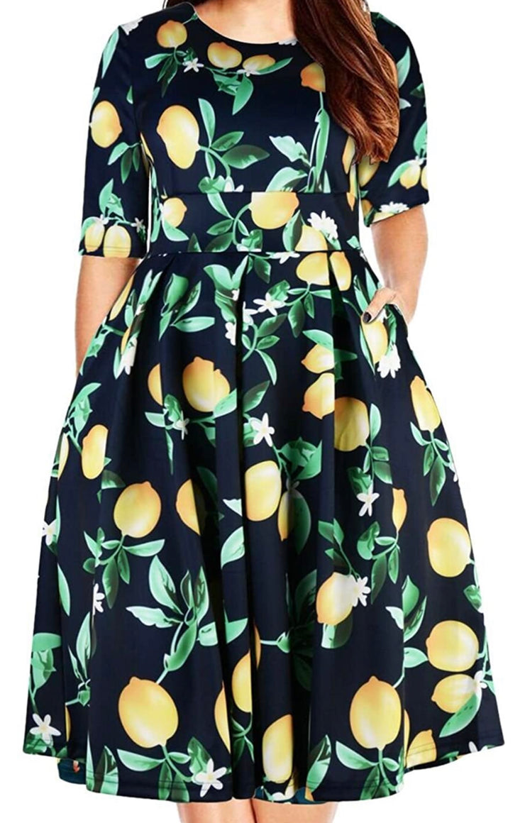 Curvy Lemon Pie Midi Dress