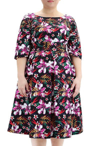 Curvy Tropical Days Midi Dress