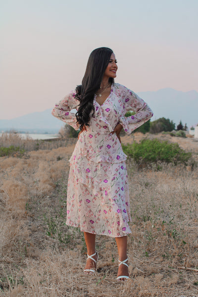 Lady Like Floral Midi Dress