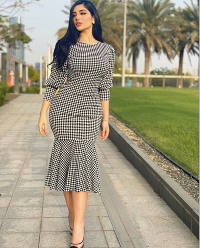 Charmed Day Houndstooth Mermaid  Dress