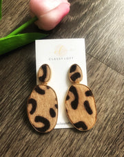 Fuzzy Leopard Print Earrings
