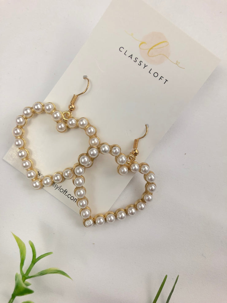 Imitation Pearl Heart Earrings