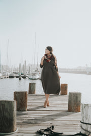 Beyond Basic Midi Dress in Olive-FREE SCARF