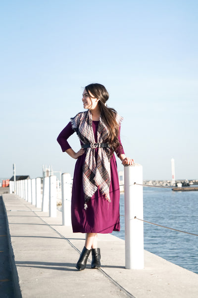 Beyond Basic Midi Dress in Purple-FREE SCARF