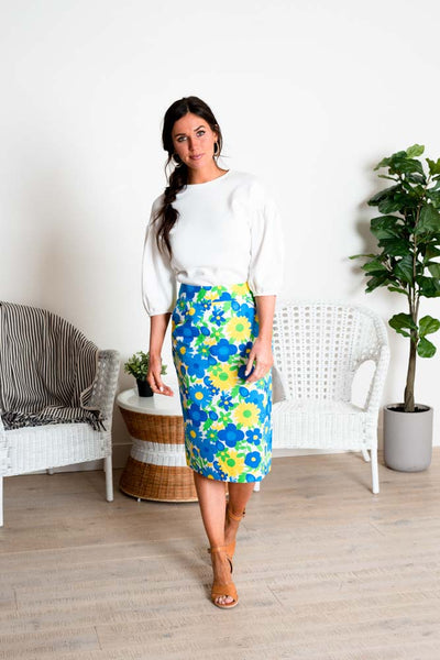 Day in Paradise Floral Pencil Skirt