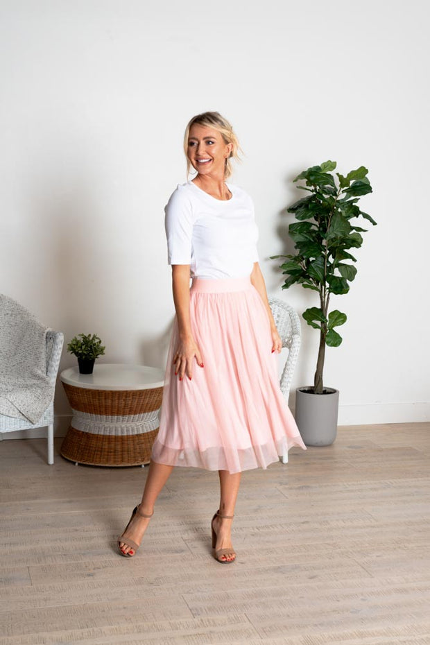 True Beauty Tulle Midi Skirt