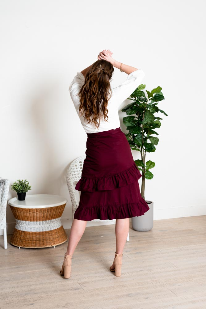 She's Cute Wrap Embroidered Midi Skirt