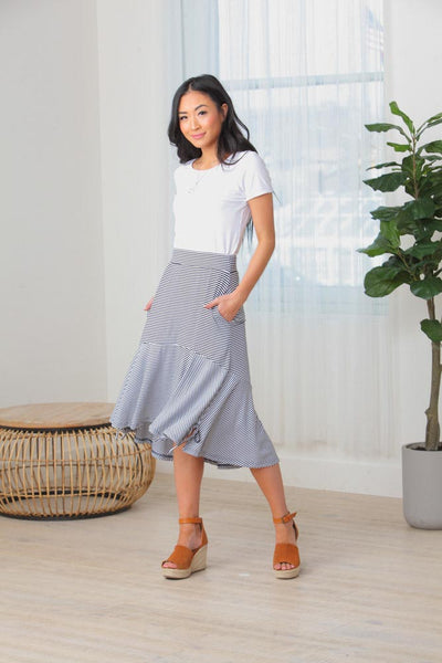 Ally Side Tie Striped Midi Skirt