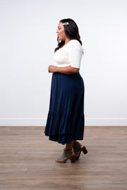 Perfection Navy Ruffle Skirt