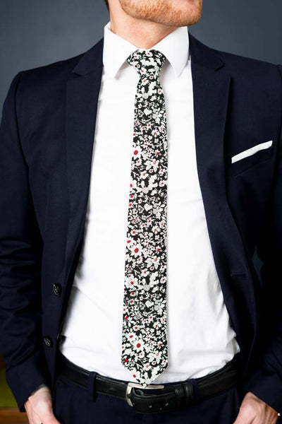 Cotton Skinny Black White Floral Tie