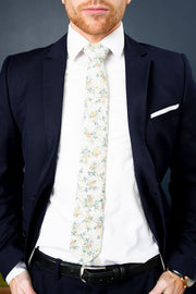 Cotton Skinny White Floral Tie