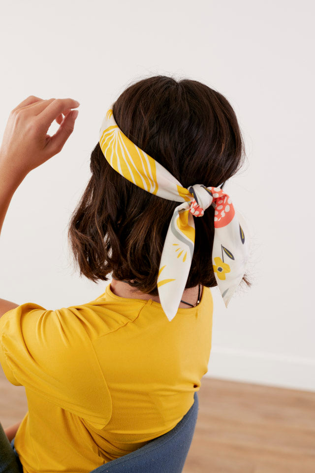 Yellow Folk Floral Hair Scarf