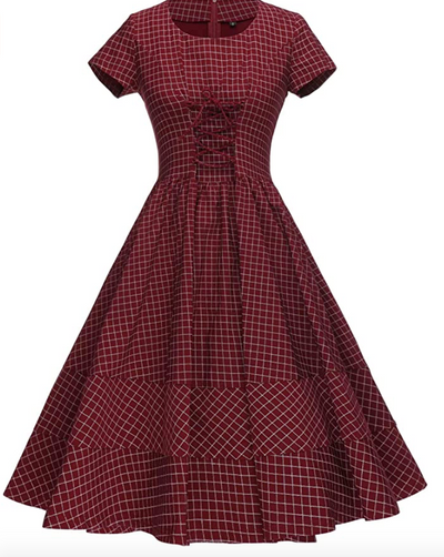 Farm Girl Lace Up Retro Dress