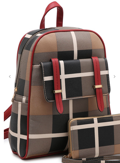 My Wish Plaid Check Flap Pocket 2-in-1 Backpack