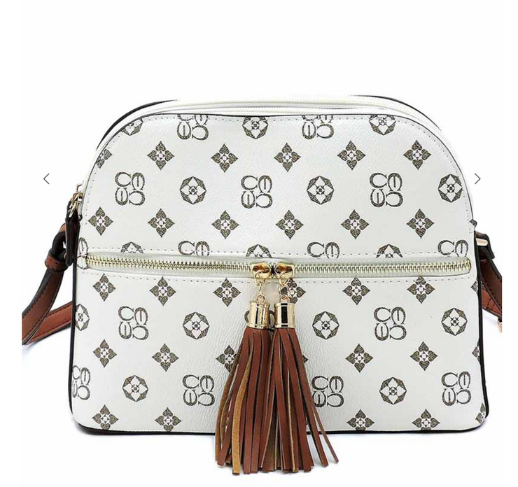 Chic Monogrammed Multi Compartment Crossbody Bag