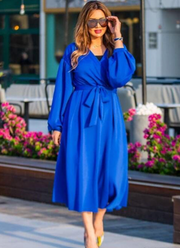 True Love Wrap Belted Midi Dress