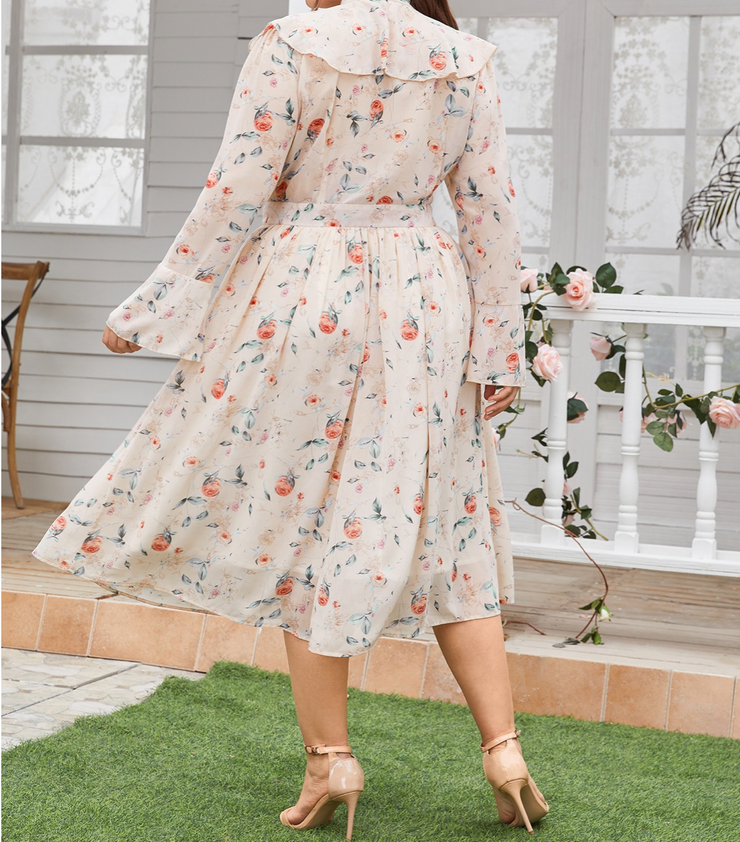Blooming Ruffled Midi Dress