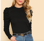 Puff  Sleeves Knitted Basic Top