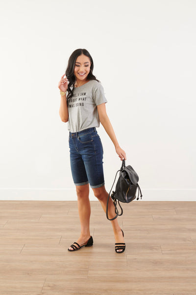Stay Chill Dark Denim Bermuda Shorts