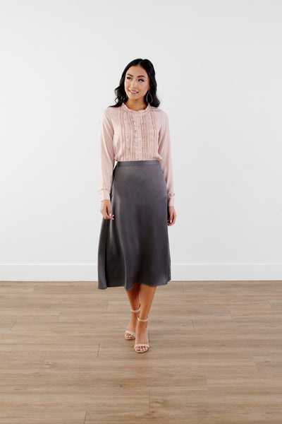 Wow Silky Midi Skirt-GREY