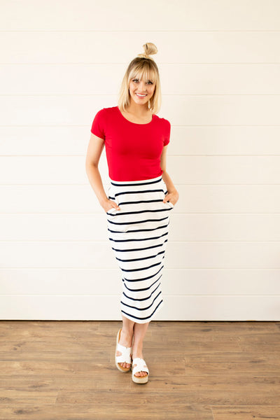 Comfy Striped Midi Skirt