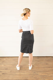 Easy to wear Striped Midi Skirt
