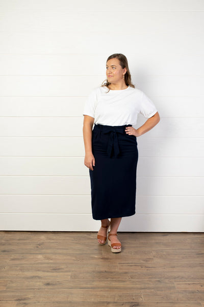 Superpower Paper Bag Pencil Navy Skirt