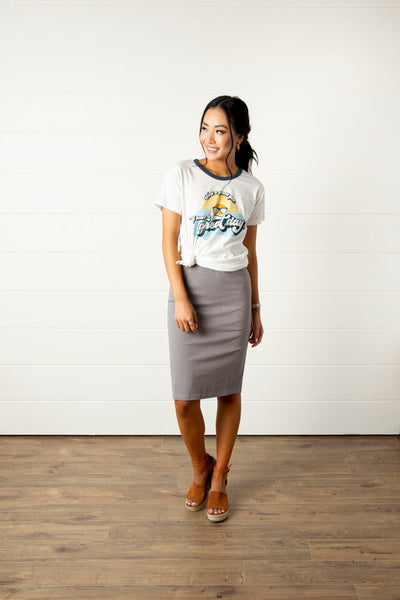 Super Girl Pencil Skirt-Grey