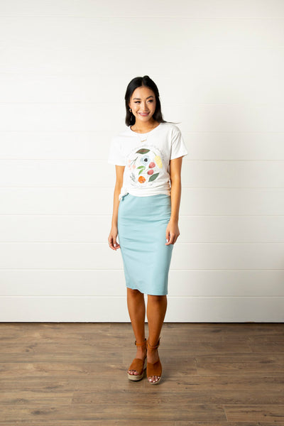 Super Girl Pencil Skirt- Aqua