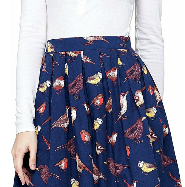 Fall birdies Midi Skirt with pockets