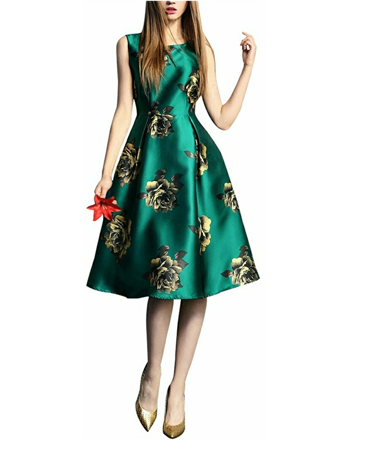 Golden Flowers Green Summer Midi Dress
